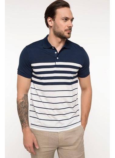 DeFacto Çizgili Polo T-shirt Mavi